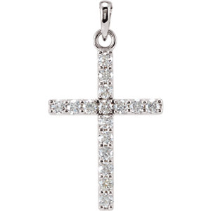 14K White 1/3 CTW Diamond Cross Pendant