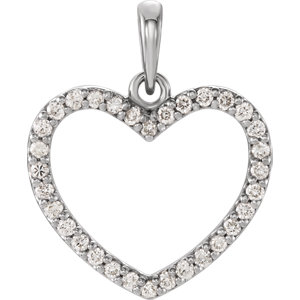 14K White 1/4 CTW Diamond Heart Pendant