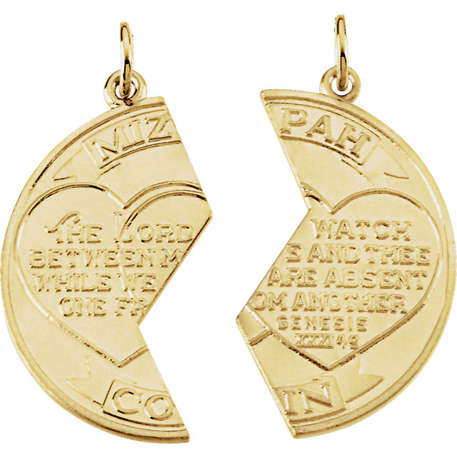 14K Yellow Miz Pah Coin Left Pendant