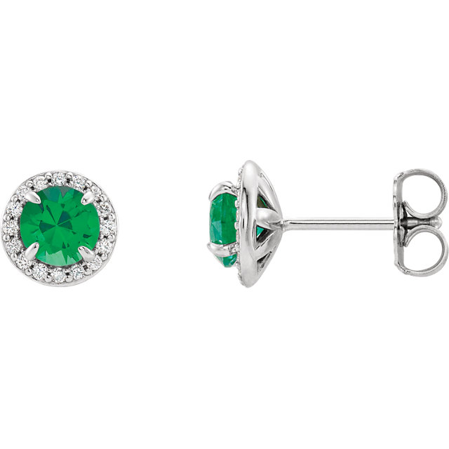 14K White 5mm Round Chatham® Created Emerald & 1/6 CTW Diamond Earrings