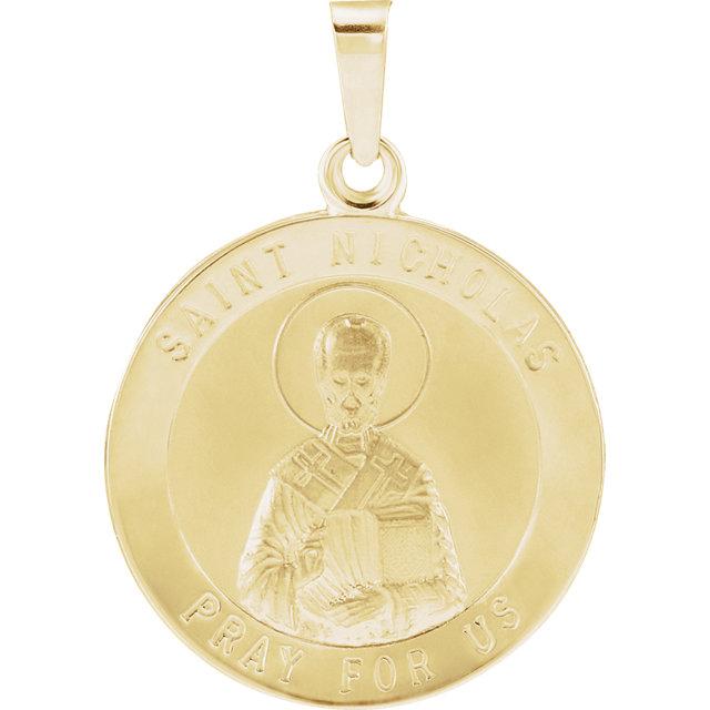 14K Yellow 18.25 mm St. Nicholas Medal