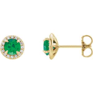 Earrings , 14K Yellow 4mm Round Emerald & 1/8 CTW Diamond Earrings