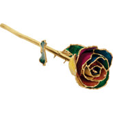 Lacquered Rainbow Rose with Gold Trim