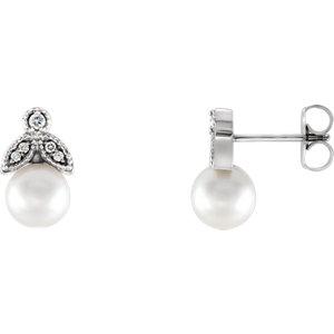 Earrings , Sterling Silver Freshwater Pearl & .07 CTW Diamond Earrings