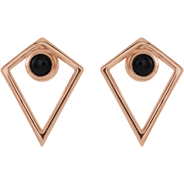 14K Rose Onyx Cabochon Pyramid Earrings