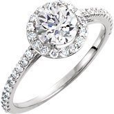 Charles & Colvard Moissanite® & Diamond Halo-Style Engagement Ring or Band