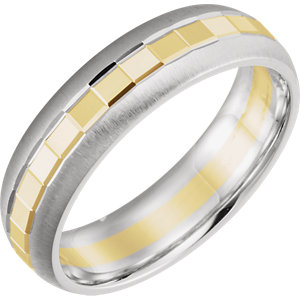 14K White & Yellow 6mm Design Band Size 10