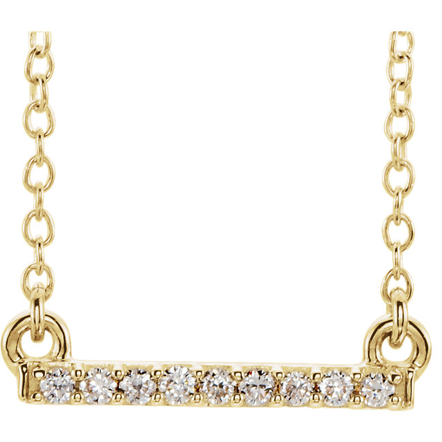 14K Yellow .07 CTW Petite Diamond Bar 16-18