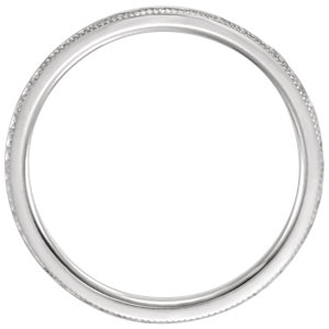 14K White 2mm Flat Milgrain Comfort Fit Satin & Hammer Finish Band Size 7