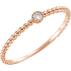 14K Rose .03 CTW Diamond Bead Design Ring Size 7