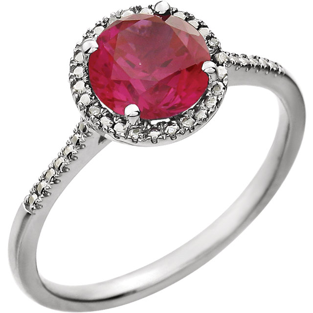 Sterling Silver Created Ruby & .01 CTW Diamond Ring