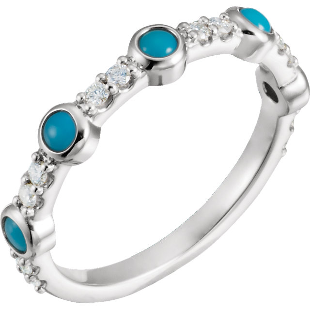 14K White Cabochon Turquoise & 1/5 CTW Diamond Ring