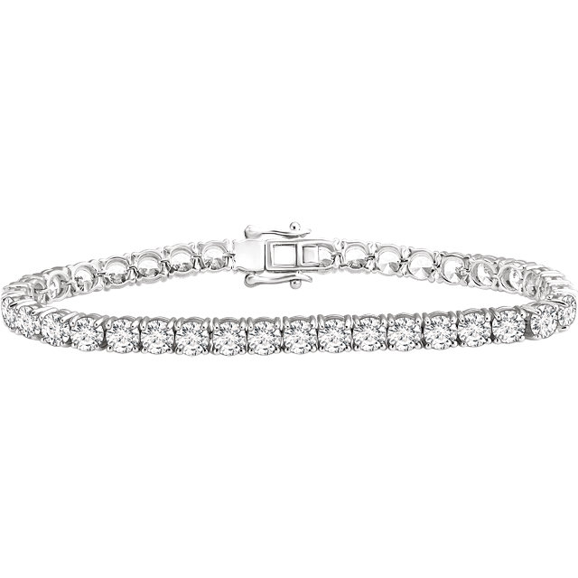 Sterling Silver 4.5 mm Round Cubic Zirconia 7