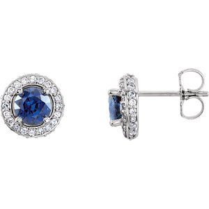 Earrings , Platinum Blue Sapphire & 1/3 CTW Diamond Earrings