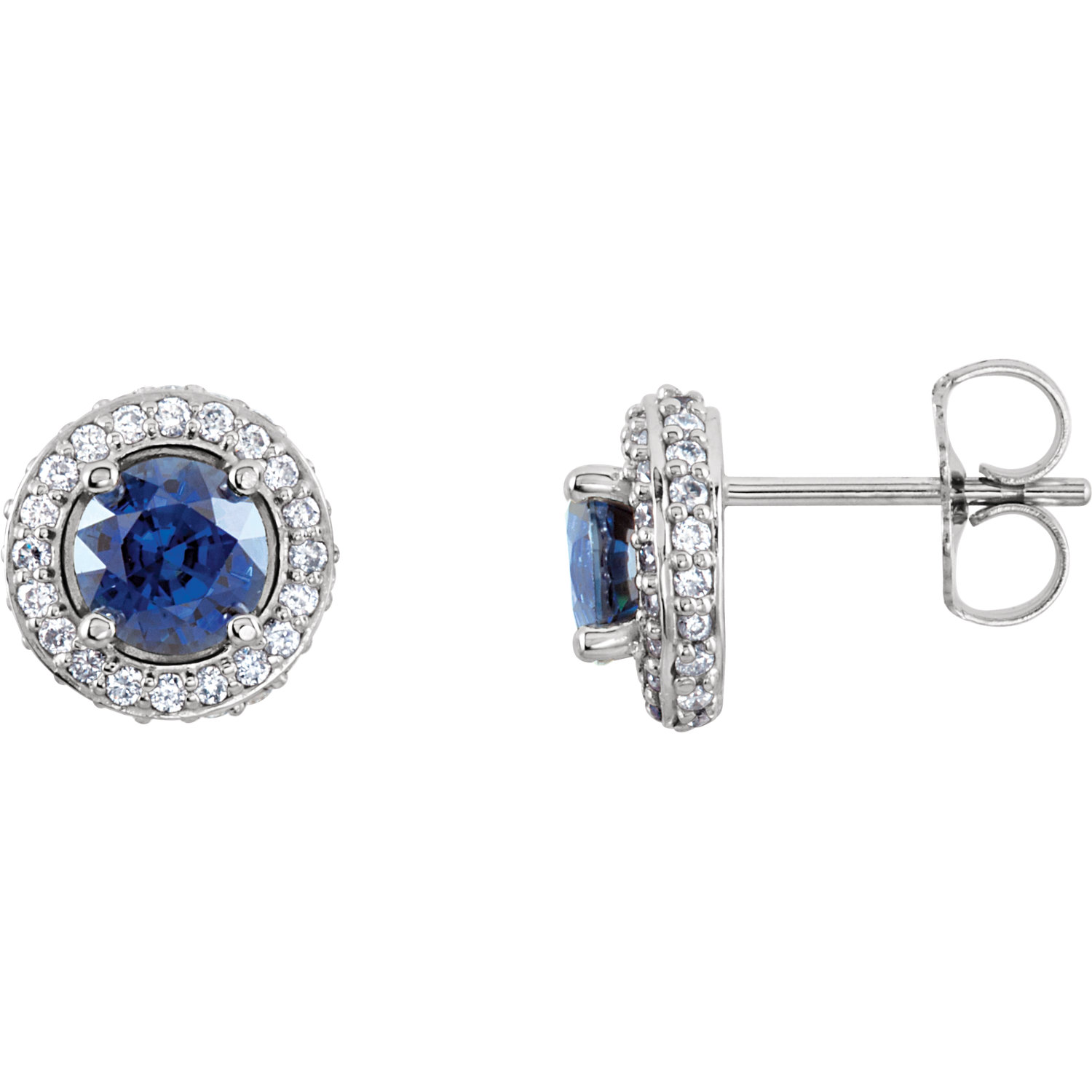 14K White Blue Sapphire & 3/8 CTW Diamond Earrings