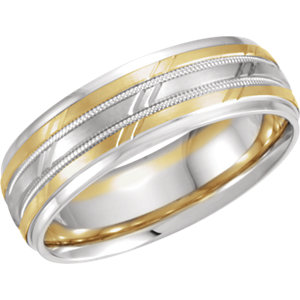 14K White/Yellow 7 mm Grooved Band Size 9.5