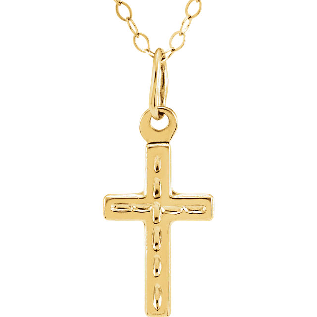 14K Yellow Cross 15