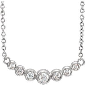Necklace / Chain , Graduated Bezel-Set Necklace