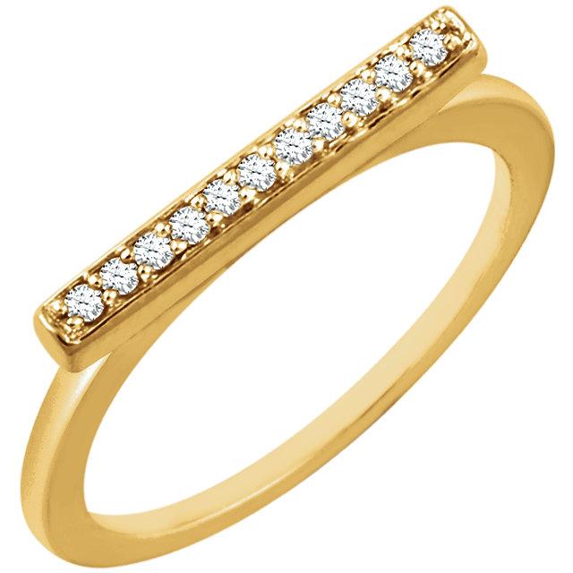 14K Yellow 1/10 CTW Diamond Bar Ring