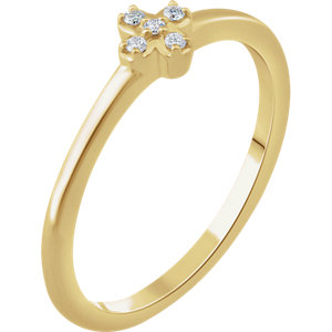 14K Yellow .04 CTW Diamond Stackable Flower Ring