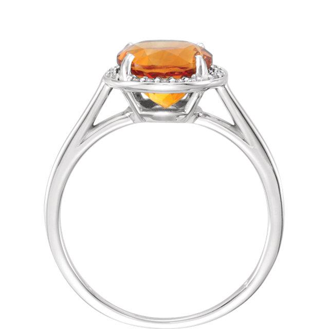 14K White Citrine & .05CTW Diamond Ring