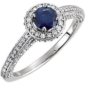 Fashion Rings , Platinum Blue Sapphire & 5/8 CTW Diamond Engagement Ring