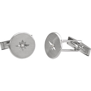 14K White .03 CTW Diamond Starburst Men-s Cuff Links