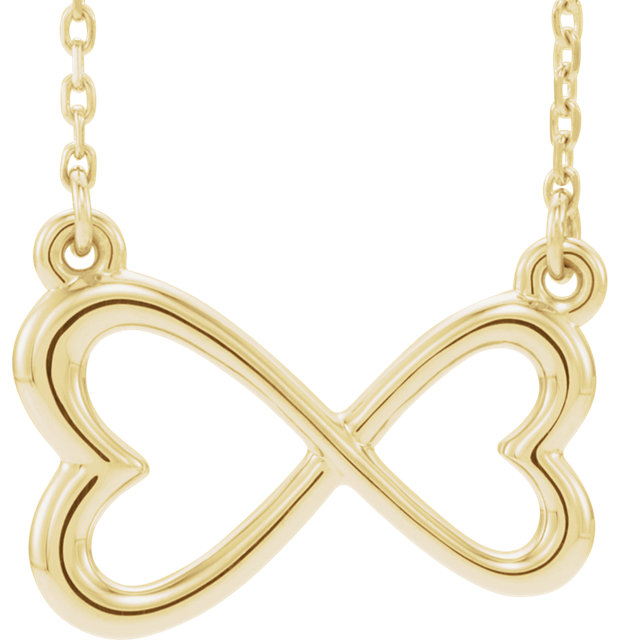 14K Yellow Infinity-Inspired Heart 16-18