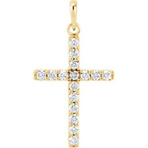 14K Yellow .50 CTW Diamond Cross Pendant