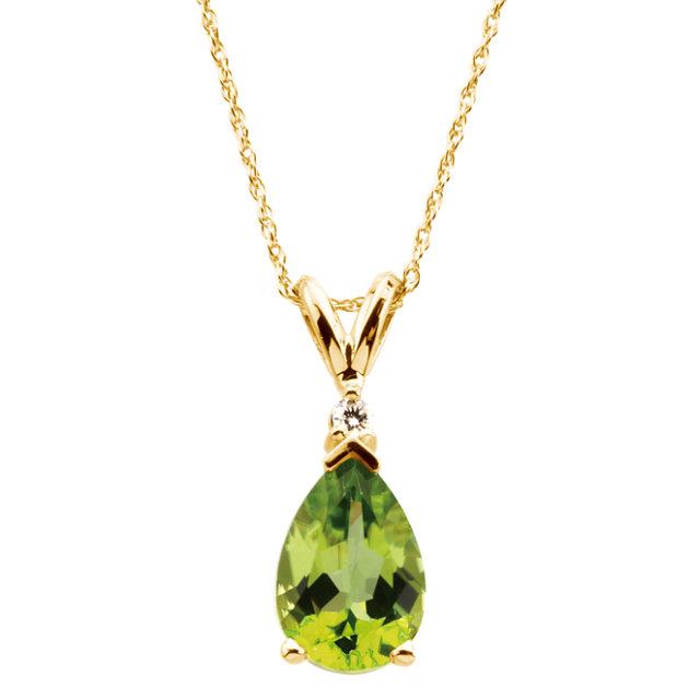 14K Yellow 10x7 mm Pear Peridot & .04 CT Diamond 18