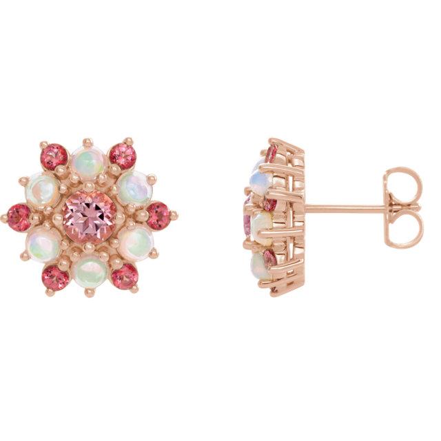 14K Rose Pink Topaz & Ethiopian Opal Cabochon Earrings
