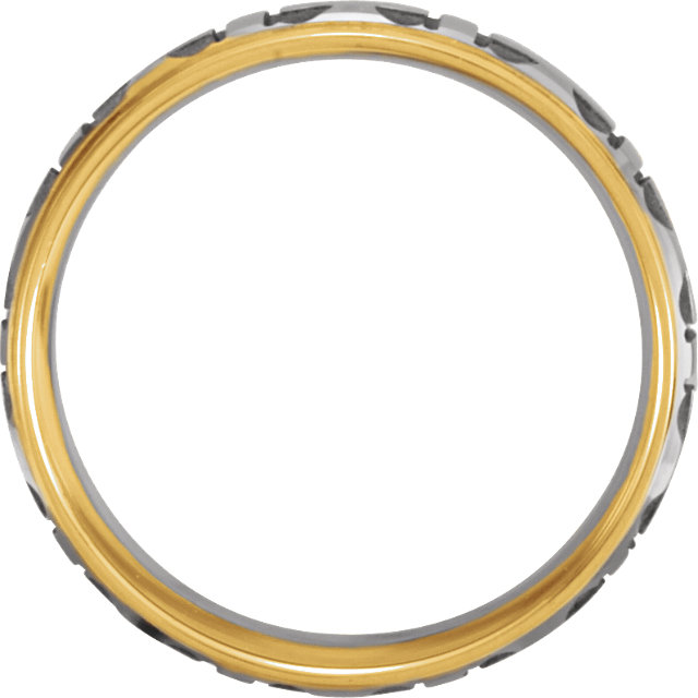 14K White & Yellow 7mm Comfort-Fit Cross Band Size 8.5