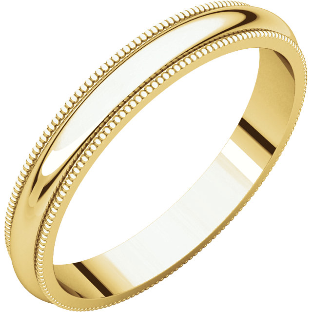 14K Yellow 3 mm Milgrain Band
