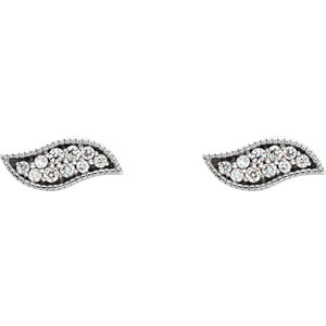 14K White .07 CTW Diamond Earrings