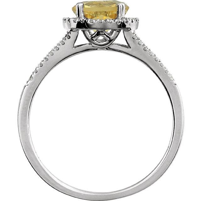 14K White 1/5 CTW Diamond & Citrine Ring