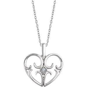 Sterling Silver .03 CT Diamond Heart Neckalce