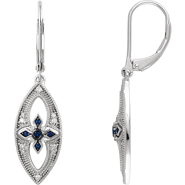 Sterling Silver Sapphire & 1/6 CTW Diamond Lever Back Earrings