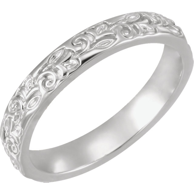 14K White 3.5 mm Floral-Inspired Band Size 7