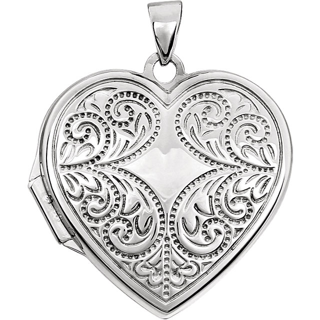 14K White Heart Locket