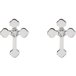 14K White .01 CTW Diamond Cross Earrings