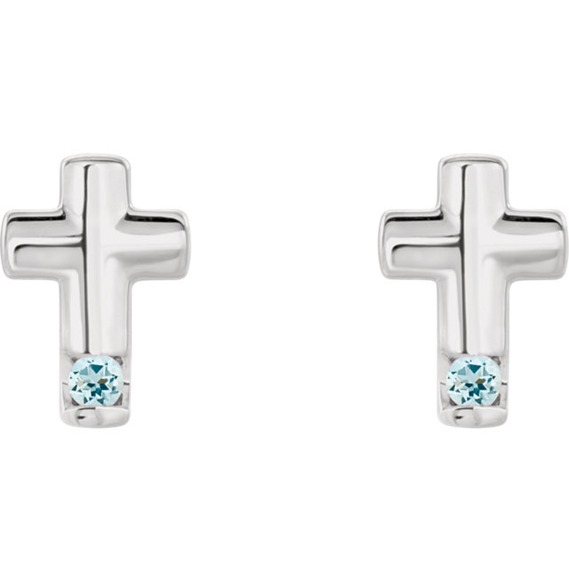 Sterling Silver Aquamarine Cross Earrings