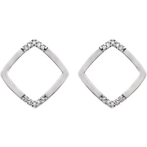 14K White .05 CTW Geometric Diamond Earrings
