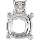 Cushion 4-Prong Accented Setting for Earring Assembly