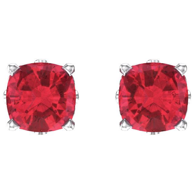 14K White Chatham® Created Ruby Earrings