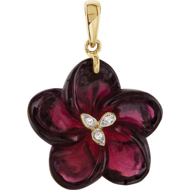 14K Yellow Brazilian Garnet & Diamond Flower Pendant