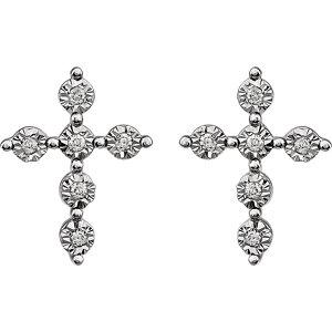 14K White 1/10 CTW Diamond Earrings