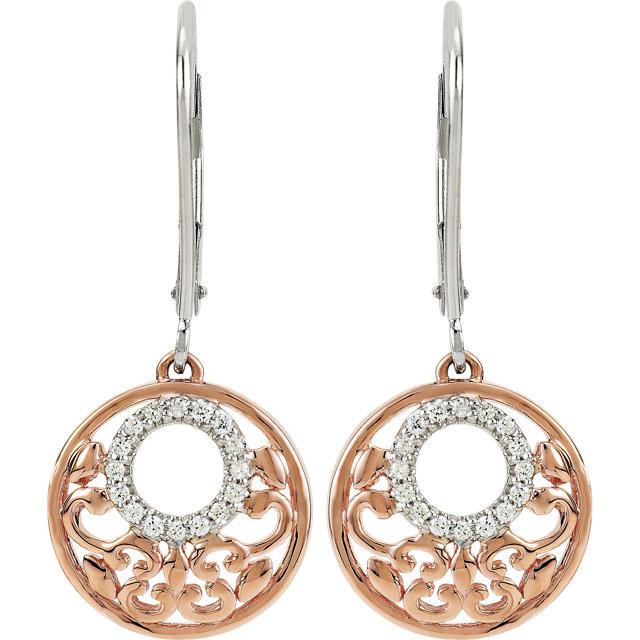 Sterling Silver 14K Rose Plated 1/8 CTW Diamond Lever Back Earrings