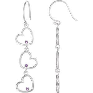 Amethyst Triple Heart Dangle Earrings