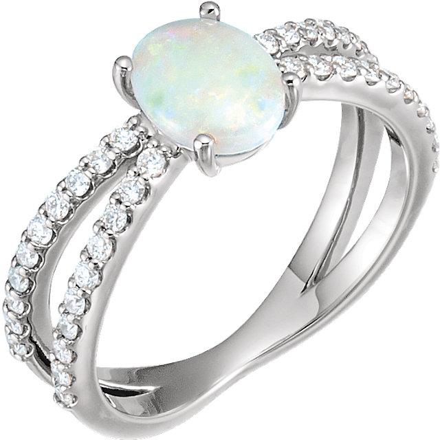 14K White Opal & 1/3 CTW Diamond Ring