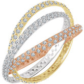 3-Band Accented Rolling Eternity Band